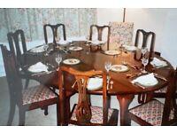 High Quality Solid Cherry Irish Wake Dining Table & 10 Edwardian Mahogany Chairs