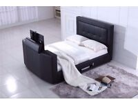 ELECTRIC LEATHER STORAGE TV BED - HOLDS UP TO 40'' TV - DOUBLE OR KINGSIZE - DELIVERED NATIONWIDE
