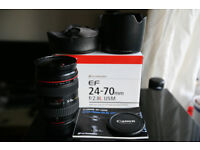 Canon EF 24-70 mm F/2.8 L USM boxed with lens hood all accessories - pristine condition **AS NEW**