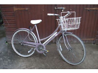 Ladies town bicycle, complete with basket and bell. In excellent working order