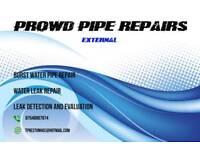 Water leak repair. Burst water pipe repair. External.