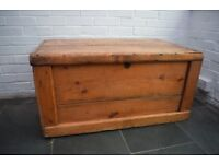 Gorgeous Antique Old Waxed Pine Trunk Chest Blanket Box - Ebonised Interior
