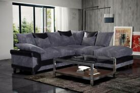 BUY NOW WHILE THE STOCK LASTS -DINO JUMBO CORD CORNER OR 3 AND 2 SEATER SOFA--BLACK/GREY OR BROWN--