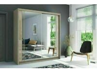 💥💯FLASH SALE 2 DOORS SLIDING WARDROBE WITH FULL MIRRORS ALL SHELVES & RAILS INCLUDED