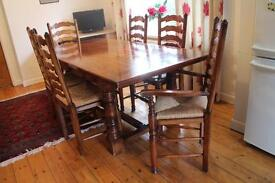 Dining table with 6 chairs: rare Romanian Cherrywood