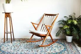 Rare mcm collectors piece. Frank Reenskaug for Bramin Møbler. Danish rocking chair