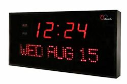 Big DBTech Digital LED Calendar Clock with Day & Date (22 - Red LED)