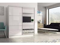 2 Door Sliding mirror wardrob with High Gloss Black/White Finish- Brand New