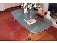 Large Opaque Glass top coffee table . 5 Ft x 32 inch x 14 inch high