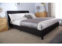 SAME DAY DROP - NEW 140 X 190 CM STANDARD DOUBLE LEATHER BED FRAMES IN BLACK AND BROWN WITH MATTRESS