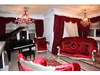Exquisite 1st Class Handmade Velvet Baroque Living-room Set Sofa, 2 Armchairs