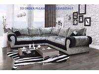 *** EXPRESS DELIVERY *** BRAND NEW TANGO CRUSHED VELVET CORNER SOFA OR 3+2 EXPRESS DELIVERY
