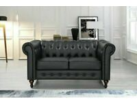 🔵💖🔴bargain furniture🔵💖🔴CHESTERFIELD PU LEATHER SOFA 2 SEATER-CASH ON DELIVERY