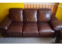 brown leather set : 3seater sofa, 2 armchairs and one reclining armchair. need gone asap