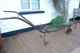 Vintage Antique Cast Iron Farm Horse Drawn Plough/Cultivator - Garden Ornament