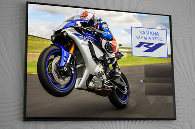 """YAMAHA YZF-R1 CLIP GLASS 16""""x12""""Framed Canvas Signed """"Great Gift"""""""