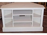 NEW shabby chic white cream corner tv dvd entertainment unit stand real solid wood conservatory