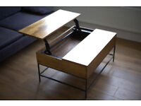 Lift-top wooden coffe table