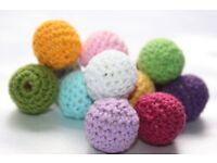 Crochet wood beads, knit wooden teething DIY