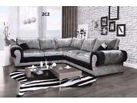 Special Offer Brand New Crushed Velvet Corner Sofa Express Delivery