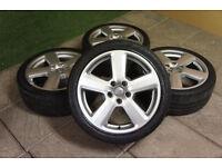 """Genuine Audi A3 8P S Line 18"""" Alloy wheels & Tyres 5x112 A4 S4 VW Passat Golf T4 Caddy"""