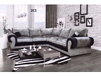 **1 YEAR WARRANTY**BRAND NEW CORNER SOFA OR 3+2 IN VELVET, JUMBO OR CHENILLE FABRIC-EXPRESS DELIVERY