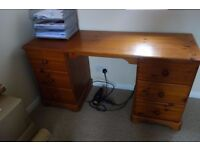 6 drawer pine desk, dressing table