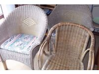 Three cane Rattan Wicker chairs two with cushions ideal conservatory bedroom chairs