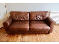 REDUCED John Lewis Madison brown leather sofa settee