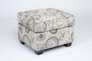 CANADIAN MADE FABRIC 510 CLOCK PRINTED FABRIC OTTOMAN (BF-228)