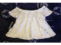Lovely white lace style gypsy top size 12 River Island