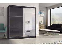 HIGH GLOSS 2 DOOR SLIDING WARDROB WITH MIRROR, BLACK, WHITE
