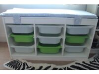 IKEA storage solution, with 9 drawers and optional home-made detachable cushion