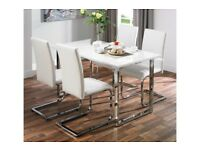 Brand New 5 Piece MILAN Gloss Table 4 Faux Leather Unique Design Chairs Dining Set - White