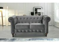 🟡💛EASY TO MOVE💛🟡plush velvet chesterfield sofa 3 and 2 seater in grey color only-flat packed-
