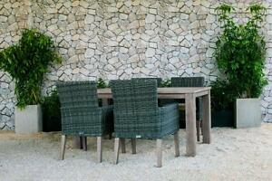 FREE Delivery in Calgary! 5 PC Weathered Teak Outdoor Dining Table Set with Grey Wicker Patio Chairs by Cieux!