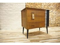 MID CENTURY CHEST OF DRAWERS, SIDEBOARD ,VINTAGE,RETRO,solid wood (free delivery)