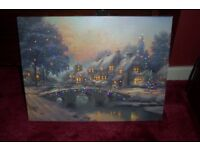 xmas canvas traditional scene colour changing ex con