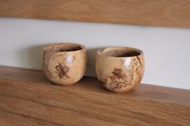 Pair of Wooden Tealight Holders NEW made in Norfolk