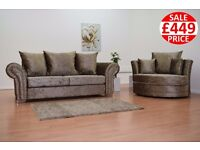 BRAND NEW SOPHIE 3 SEATER AND CUDDLE CHAIR IN TRUFFLE CRUSHED VELVET! FAST UK DELIVERY