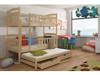 WOODEN SOLID BUNK BED WITH FOAM MATTRESSES BRAND NEW *SOLID & HEAVY**