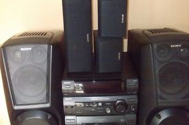 5 x Speaker Sony Stereo multi CD changer , tape and radio with hi fi cabinet