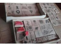 pine box of 75 rubber stamps for craft card making