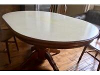 Oak Venner dining table and four chairs. Table top has been chalk painted