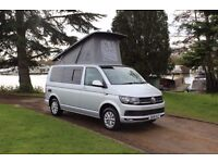 Volkswagon VW T6 Highline Poptop Campervan Hire, 5 berth with night heater, bikerack and Awning