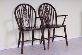 2 X CARVER WHEELBACK CHAIRS SOLID OAK STURDY SOLID SECURE - UK WIDE DELIVERY