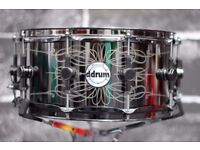 Ddrum Reflex Tattooed Lady Engraved Black Steel Snare Drum
