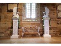 Beautiful Elegant Love Swans - Pillars Column Pedestal Wedding - Love Seat Decoration - FOR HIRE