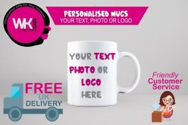 Custom Printed Mugs Gift or Promotional with your Photo Logo or Text Printed