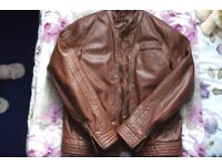 Asos brown faux leather jacket